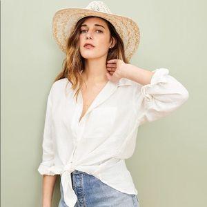 Jenni Kayne Ivory Linen Boyfriend Oversized Shirt